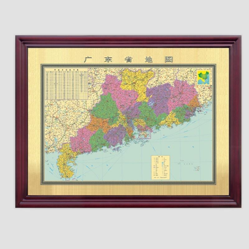 广东省地图 铜版画 铜制金属工艺品 中国地图 世界地图 装饰品135*103