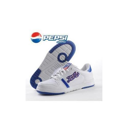 pepsi百事运动鞋蓝白色经典复古女板鞋