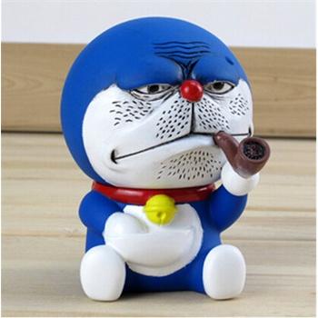 正版百变哆啦a梦公仔角色扮演机器猫公仔叮当猫创意手办恶搞抽烟_恶搞