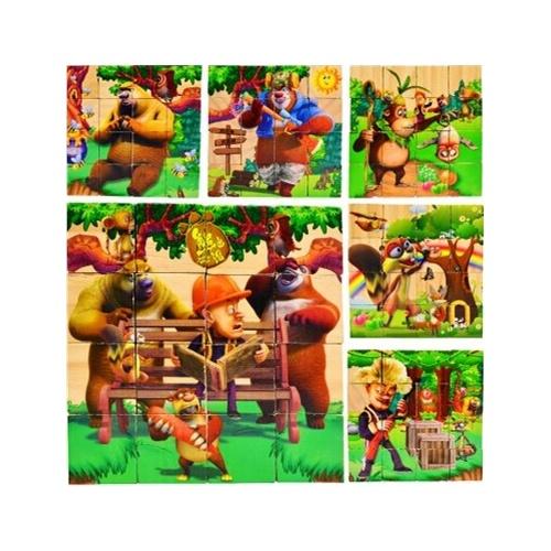 16粒木制六面画动物积木立体拼图 手工玩具幼儿园3456