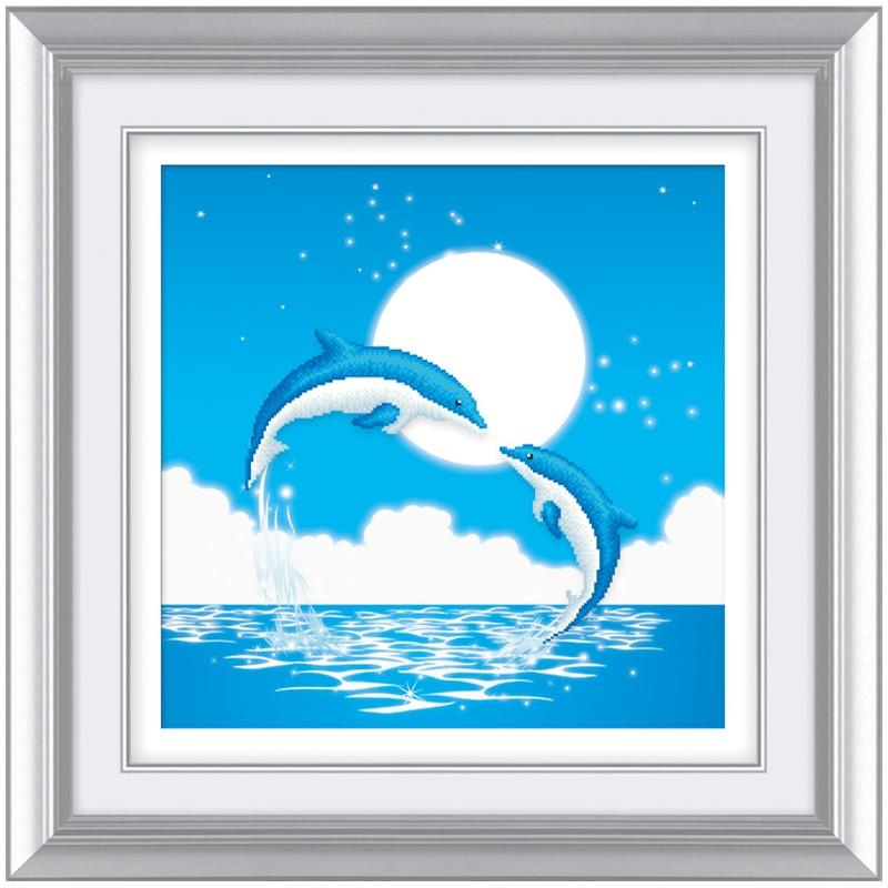 爱艺钻石画 5d钻石绣海豚之恋客厅卡通动漫 海豚湾恋人 最美的星球