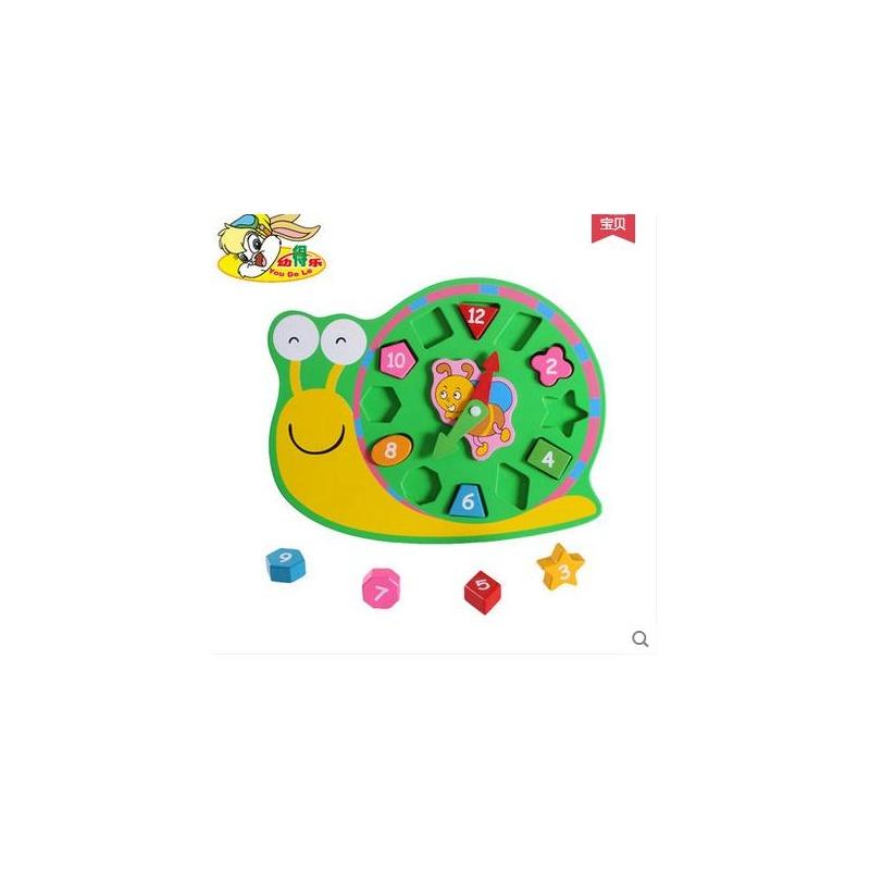 婴幼玩具 智体发展 幼得乐 木制数字形状积木时钟木质配对儿童益智