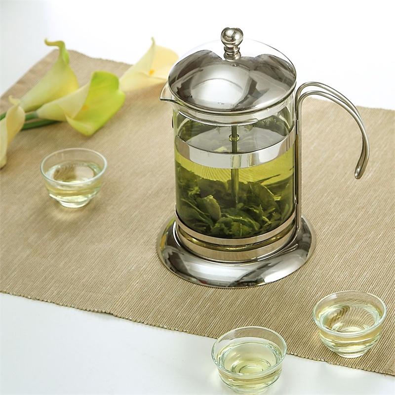 欧润哲 耐热玻璃茶壶 不锈钢泡茶器冲茶器 压滤茶壶 过滤泡茶壶_300毫
