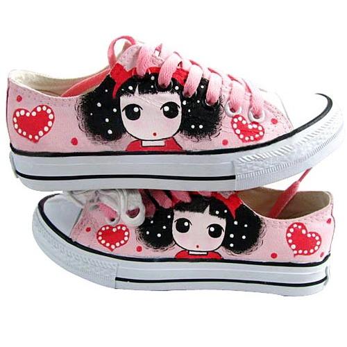绘宝 彩色手绘涂鸦鞋 非主流手绘鞋 迷糊娃娃 s-dy8258