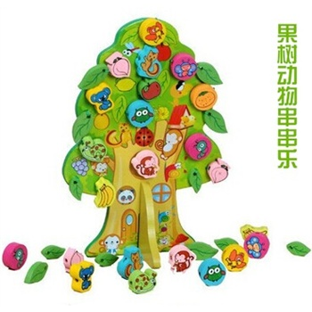 木制早教果树动物串珠穿珠穿插手工益智玩具23456岁生日礼物_深绿色款