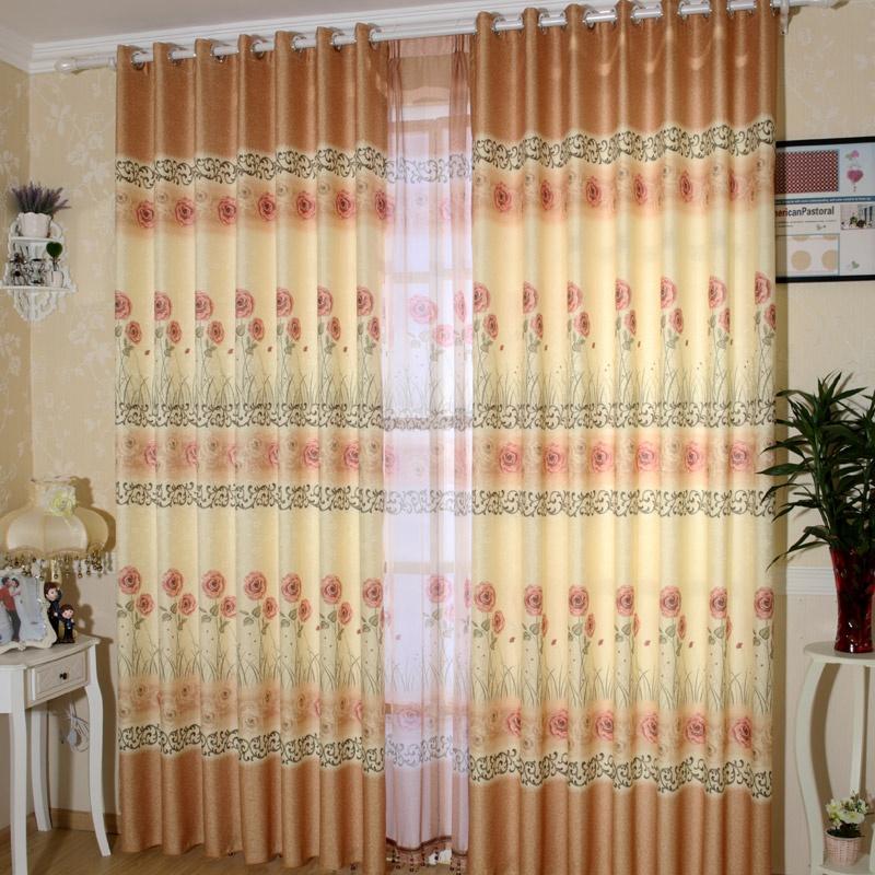 同依布艺 清新田园风客厅/卧室 半遮光窗帘 7969-3_打孔式,定制宽一