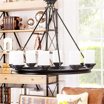 奇居良品 美式复古客厅餐厅玄关灯具 卡兵烛台式装饰吊灯图片