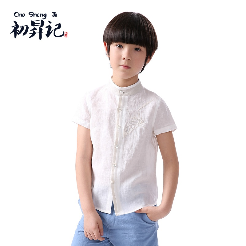 初升记中国风男童装原创2015夏季棉麻刺绣短袖衬衣上衣 民国风