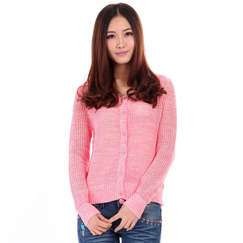 菲尔女装全棉镂空织法针织衫女开衫休闲外套 女mo-41-229311