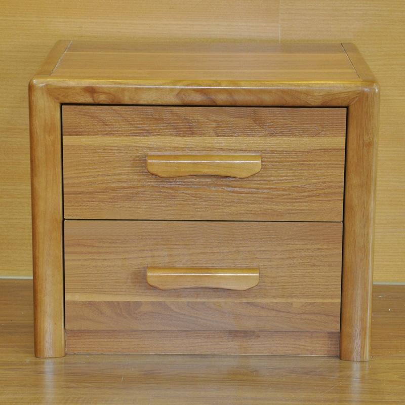 派森家具 实木框架抽屉柜 床头柜 二层斗柜 床边储物柜/矮柜 浅胡桃木