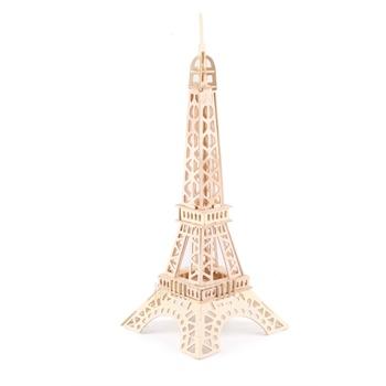 巴黎铁塔四联木制拼图立体仿真模型玩具3d动漫diy