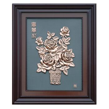 铜版画挂画大幅壁画办公室会议室酒店大厅装饰画商务黑底-国色76x96cm