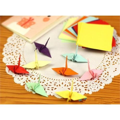 儿童彩色手工折纸 创意千纸鹤叠纸压花器*纸 15x15 100张/包