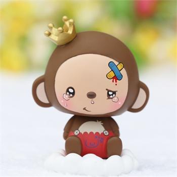 皇冠猴 汽车摆件车用摇头公仔娃娃 可爱 升级版_momo浪子款