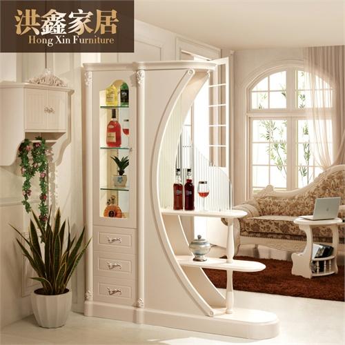 田园门厅柜间厅柜 白色装饰柜玄关柜含酒柜隔断客厅