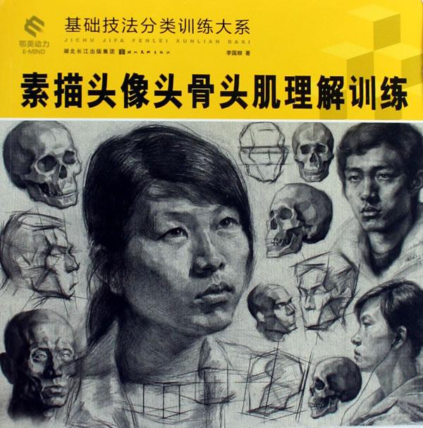 基础技法分类训练大系-素描头像头骨头肌理解训练