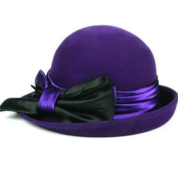 mossant2010新款时尚纯羊毛女士秋冬紫色缎带蝴蝶结礼帽