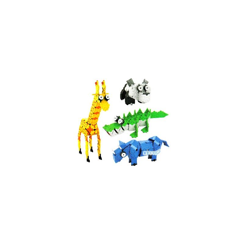 【欢乐童年趣味拼图】正品七巧匠 开心动物积木 3d 块
