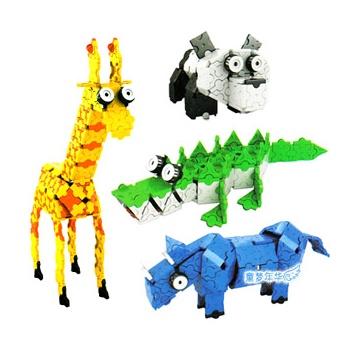 正品七巧匠 开心动物积木 3d拼装积木 790块塑料积木儿童益智玩具