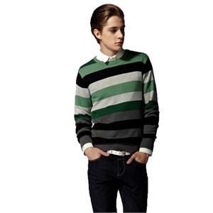 绿色 毛衫/【当当自营】Olomo撞色宽条纹男款毛衫11171001