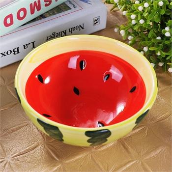 景德镇陶瓷 韩式卡通西瓜儿童婴儿碗可爱手绘釉下彩水果碗餐具