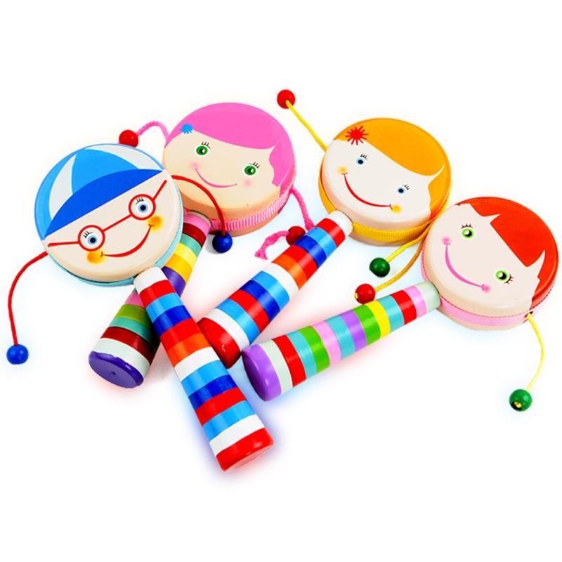 宝宝木制小乐器拨浪鼓 卡通玩具乐器儿童音乐早教小鼓皮革鼓面