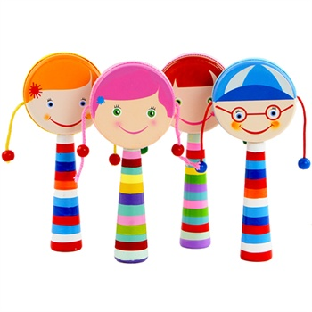 宝宝木制小乐器拨浪鼓 卡通玩具乐器儿童音乐早教小鼓