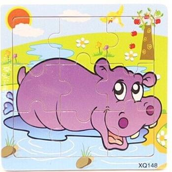 24款9粒木制小动物,车类拼图益智玩具手工玩具儿童礼物奖品生日_河马