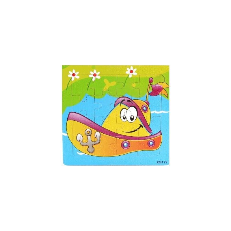 36款16粒木制宝宝卡通动物早教益智手工拼图拼板2345岁生日礼物_轮船