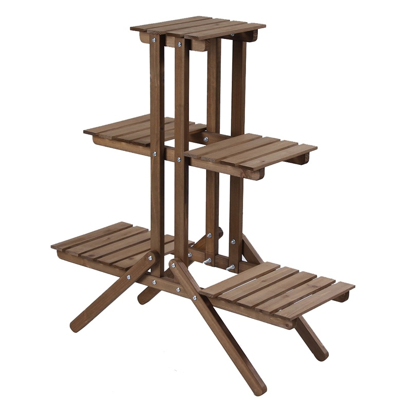 宜家简易实木多层落地式阶梯形花架木质多层隔板置物架木头层架阳台