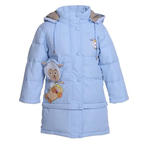 淡蓝色长款大衣的搭配