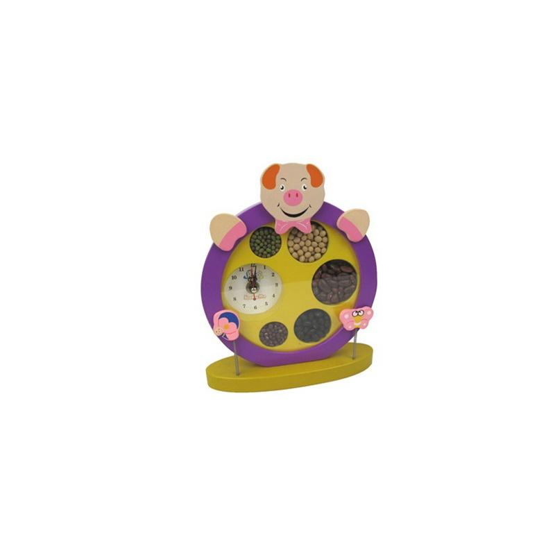 【当当自营】婴之王 儿童时钟 五谷丰登钟表 可爱紫色小猪表 宝宝认知