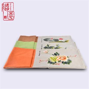 手绘棉麻茶席设计布置