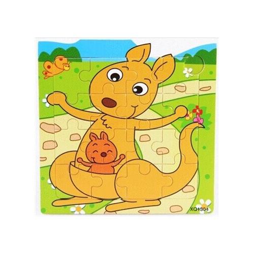 36款16粒木制宝宝卡通动物早教益智手工拼图拼板2345岁生日礼物_袋鼠