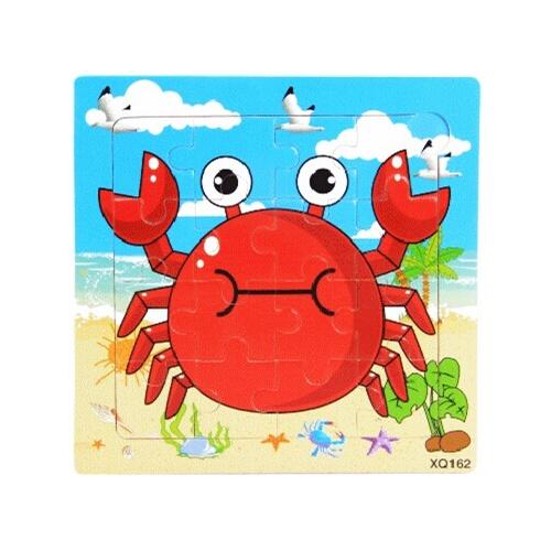 36款16粒木制宝宝卡通动物早教益智手工拼图拼板2345岁生日礼物_螃蟹