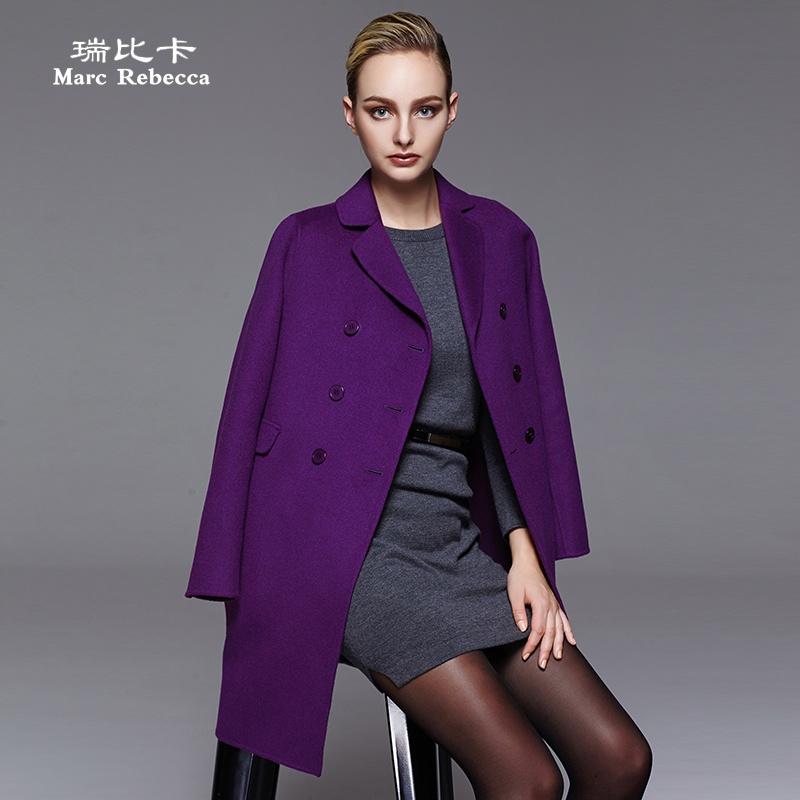 双排扣纯手工双面羊毛呢大衣外套女中长款
