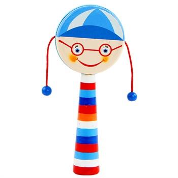 宝宝木制小乐器拨浪鼓 卡通玩具乐器儿童音乐早教小鼓皮革鼓面_蓝色