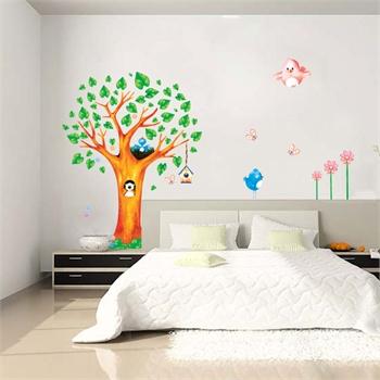 移除墙贴纸儿童房客厅卧室床头背景装饰创意墙贴壁贴壁纸小鸟树屋贴画