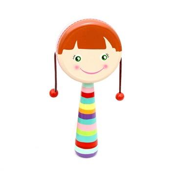 宝宝木制小乐器拨浪鼓 卡通玩具乐器儿童音乐早教小鼓皮革鼓面_咖啡色
