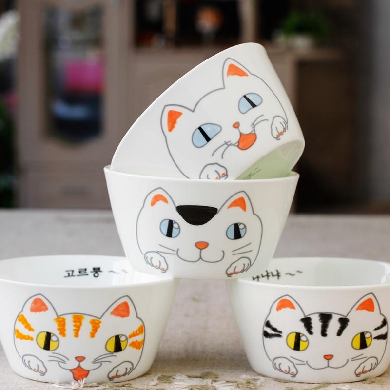 猫咪5寸碗四个装 卡通猫创意陶瓷骨瓷碗米饭碗小碗吃饭碗喝汤碗餐具