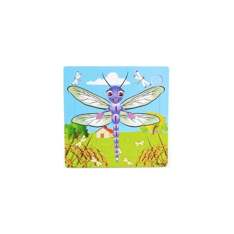 36款16粒木制宝宝卡通动物早教益智手工拼图拼板2345岁生日礼物_蜻蜓