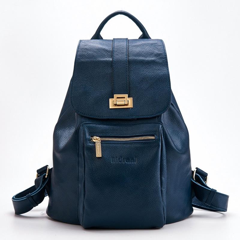 艾丹妮 2014新款女性双肩包 女士背包 真皮女包时尚牛皮旅行包_深蓝色图片