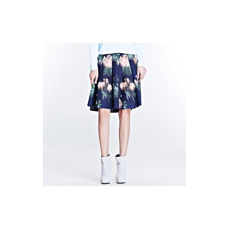 eula裙子女装欧式风情玫瑰印花a型弹力半身伞裙