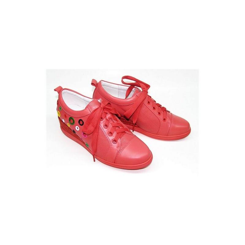 杰森米娜女鞋休闲鞋运动系带休闲韩版鞋牛皮松糕厚底女鞋金属铆钉