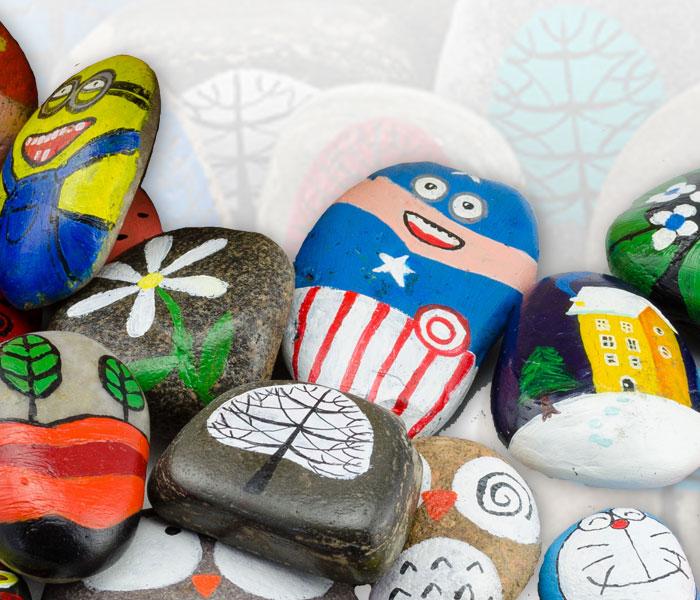 立体石头画动物