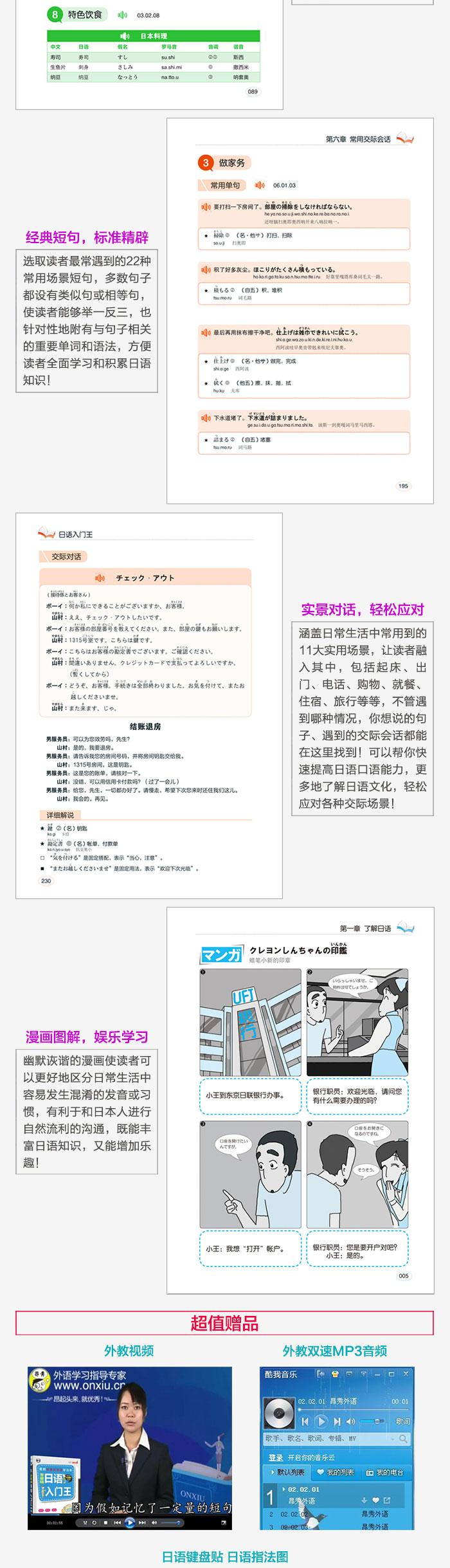 内容简介 《日语入门王》内容丰富,简单实用,排版结构合理,和其他