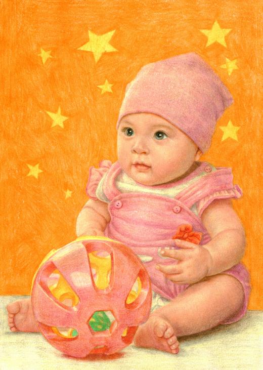 用色铅笔画可爱宝宝》钮带著