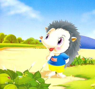 小海豚动物童话经典?小刺猬吃苹果图片