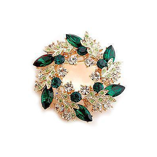 [当当自营] beauty-施华洛世奇 水晶元素材质绿色橄榄枝花环小胸针